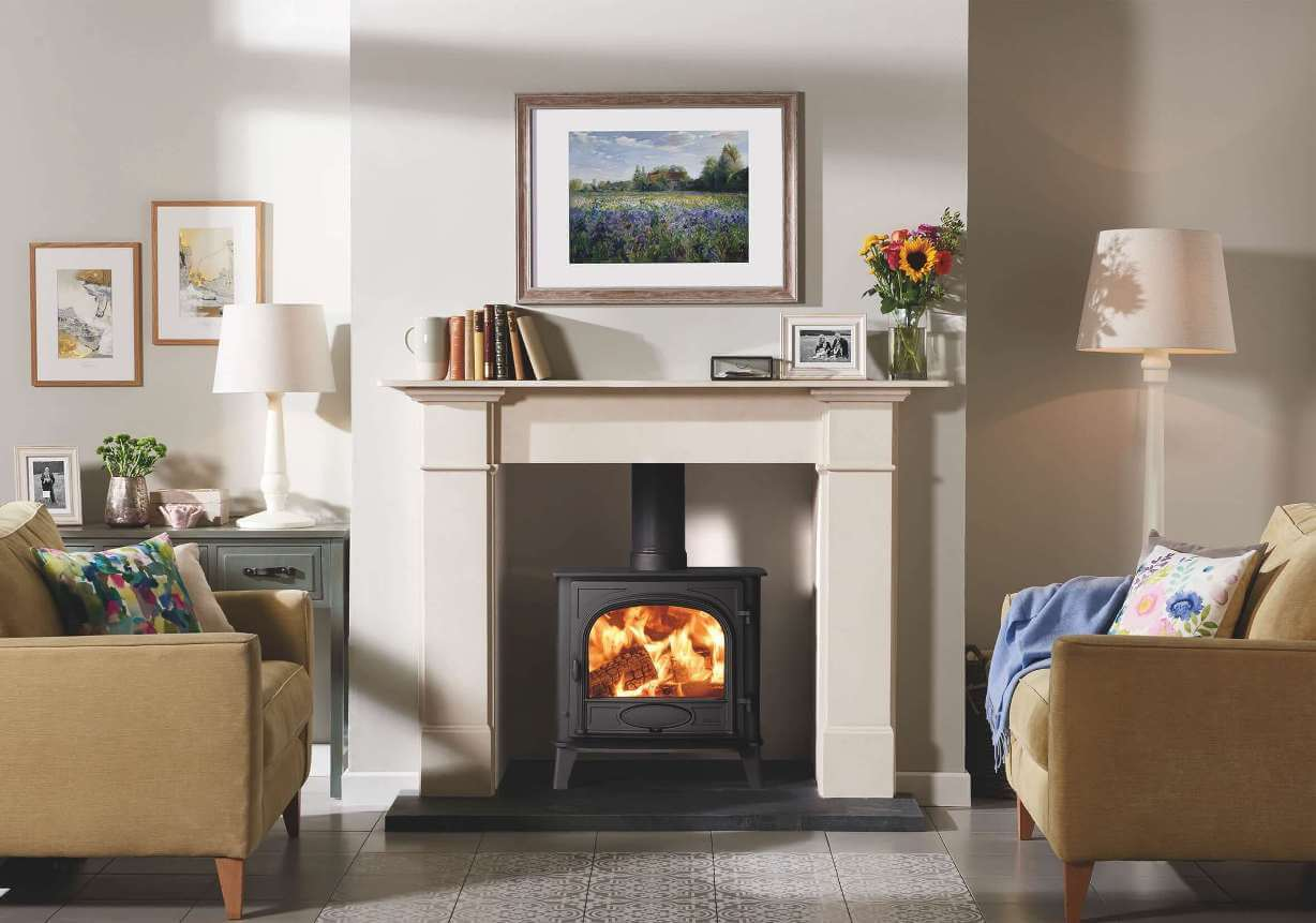 Stovax-Stockton-5W-single-door-woodburning-and-Claremont-Limestone-Mantel